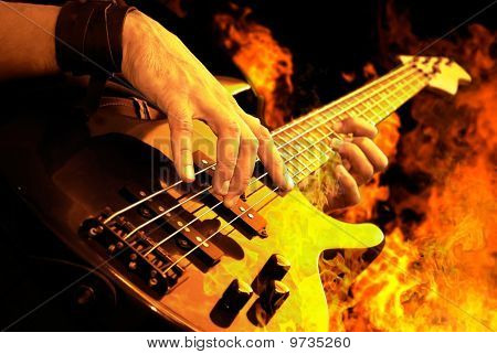 Guitar Playing In Fire