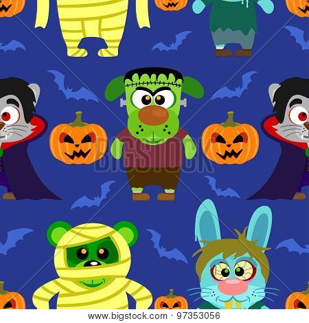 Seamless with animal in Halloween costume ,Halloween background