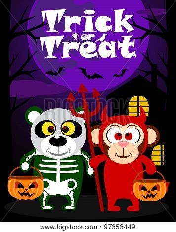 Halloween background trick or treating with animal in Halloween costume poster