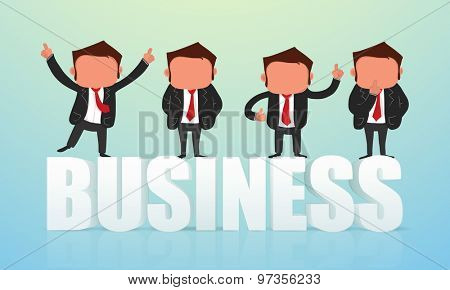 Illustration of young businessman character in different pose standing on stylish 3D text Business.