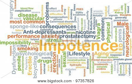 Background concept wordcloud illustration of impotence