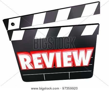 Review word on movie clapper for film comments, opinions, ratings, viewpoints or criticism poster