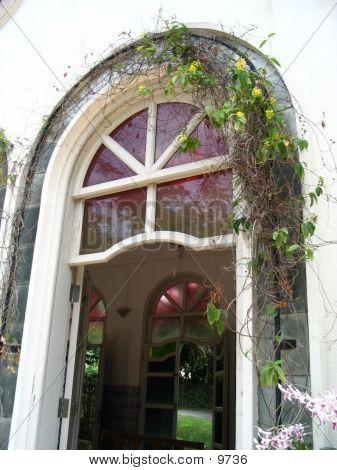 White Door With Hanging Flowers