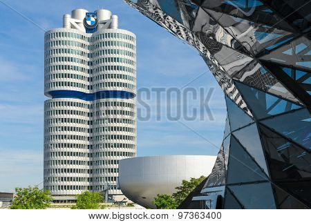 Bmw Four-cylinder Tower Munich World Headquarters For Bavarian Automaker