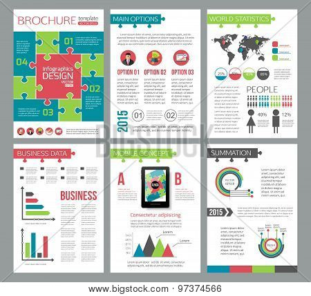 Set of corporate business stationery brochure templates. Puzzle flat style design for flyer, report,