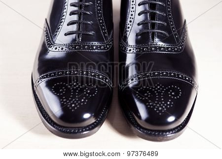 Style And Men's Fashion Footwear Concept. Pair Of New Black Stylish Male Oxfords Laqured Semi-brouge
