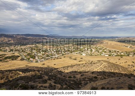 Tropical summer clouds over suburban Simi Valley near drought stricken Los Angeles, California.