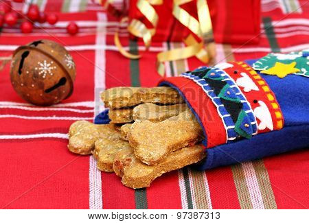Dog Biscuits Made With Pumpkin And Bacon In A Christmas Stocking.