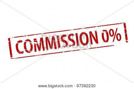 Rubber stamp with text commission zero percent inside vector illustration