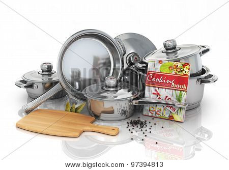 Set Of Cooking Pots With Cookbook And Board For Rifling. Kitchen Set.