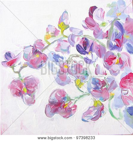 Sweet Pea Flowers Brunches. Still-life Painting.