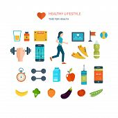 Modern flat vector icons of healthy lifestyle, fitness and physical activity. Diet, exercising in the gym, training equipment and clothing. Wellness icons for website and mobile application poster