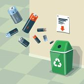 Illustration of used batteries and recycling bin for them. Batteries are in the air and falling into the green trash bin standing near the wall. Waste management concept. poster