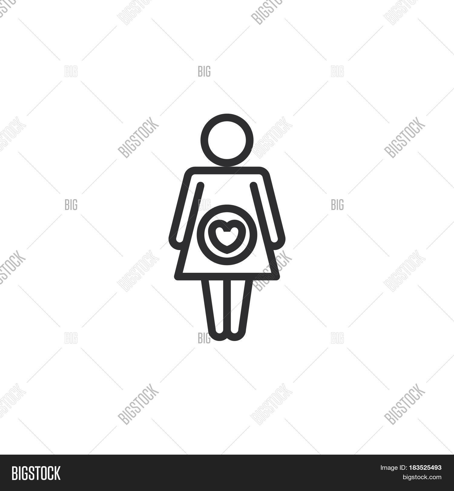 Pregnant Woman Line Vector Photo Free Trial Bigstock