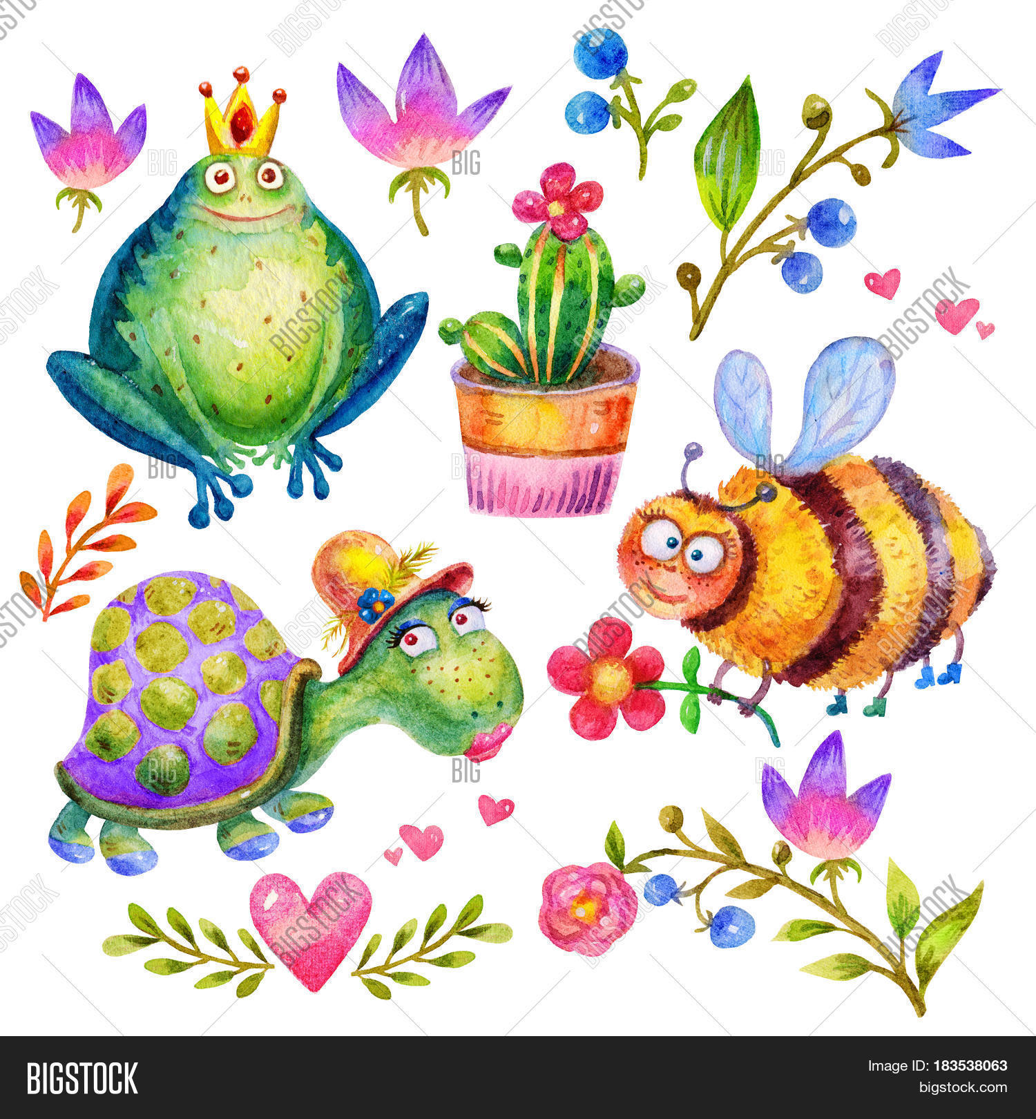 Cartoon watercolor flower set bee image photo bigstock cartoon watercolor flower set bee with flower frog with a crown turtle izmirmasajfo