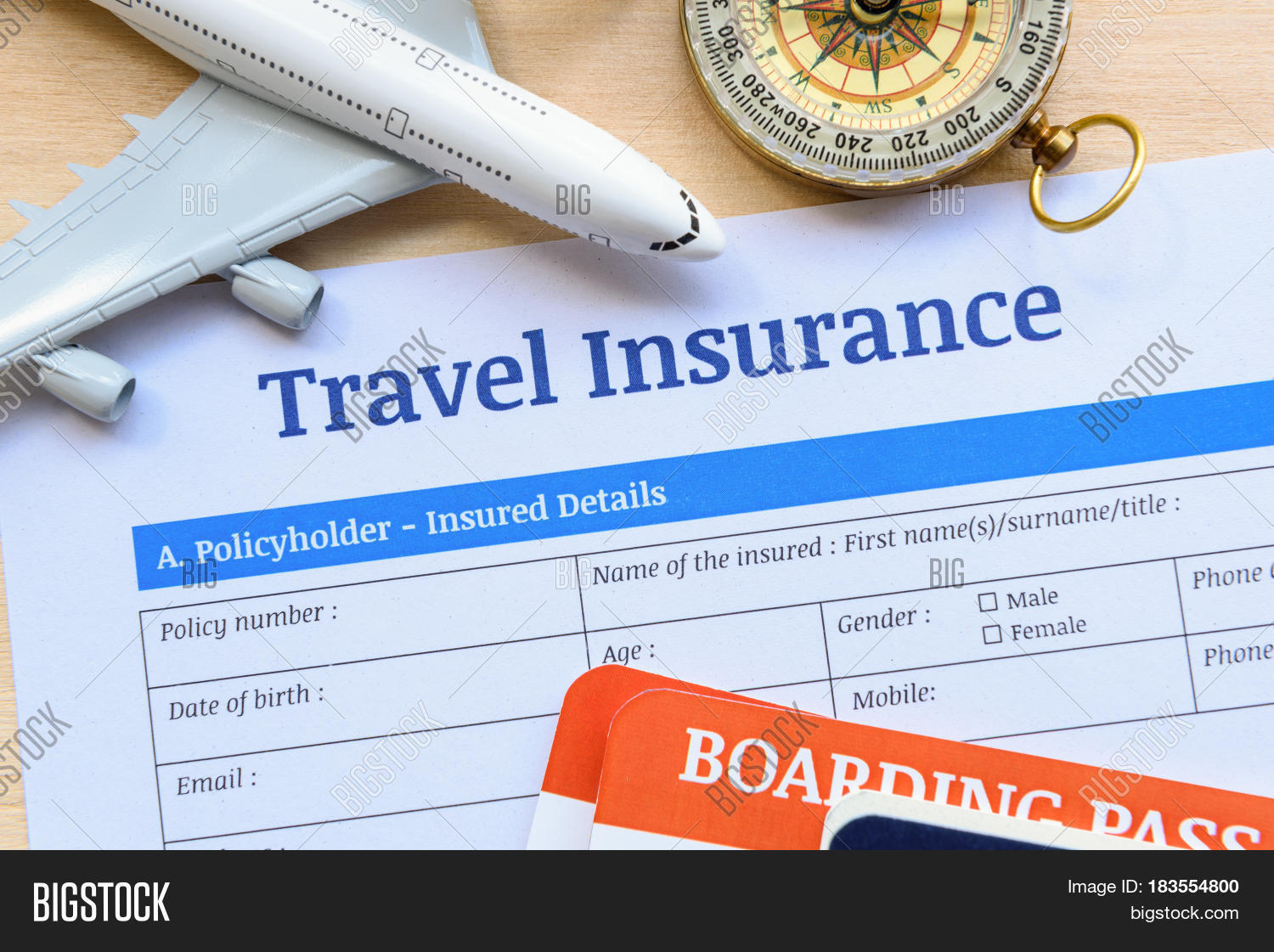 Travel insurance form image photo free trial bigstock travel insurance form put on a wood table many agent sells airplane tickets or travel thecheapjerseys Choice Image
