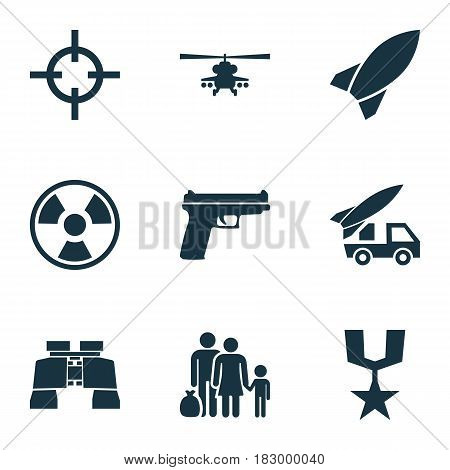 Army Icons Set. Collection Of Ordnance, Dangerous, Chopper And Other Elements. Also Includes Symbols Such As Gun, Rocket, Fire.