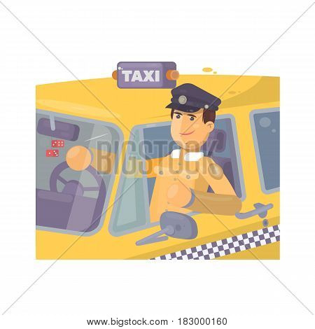 Taxi driver sitting in car Flat vector illustration