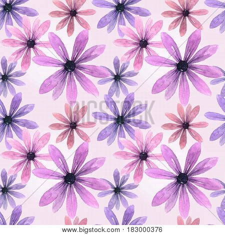 Seamless floral pattern whith pink gerber. Watercolor