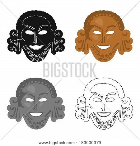 Greek antique mask icon in cartoon style isolated on white background. Greece symbol vector illustration.