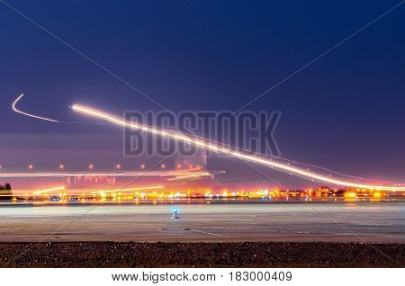 Night Lights, Tracks Of Lights In The Movement Of Aircraft On Long Exposure