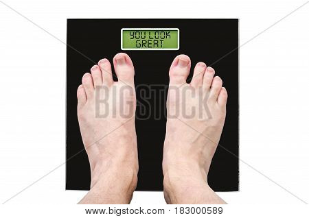 Man On Scales With Normal Weight And Good Health, The Inscription - You Look Great
