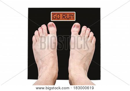 Man On The Scales With A Lot Of Weight And Health Problems, The Inscription - Go Run