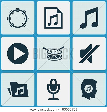 Multimedia Icons Set. Collection Of Silence, Meloman, Music And Other Elements. Also Includes Symbols Such As Dossier, Timbrel, Drum.