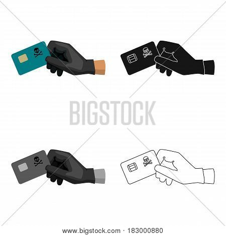 Credit card fraud icon in cartoon design isolated on white background. Hackers and hacking symbol stock vector illustration.