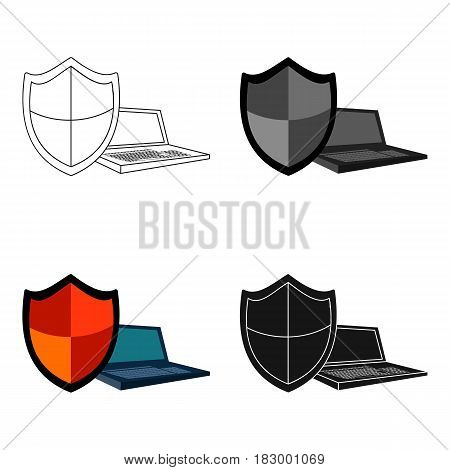 Data security of laptop icon in cartoon design isolated on white background. Hackers and hacking symbol stock vector illustration.