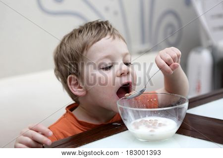 Boy eating flakes in milk at home