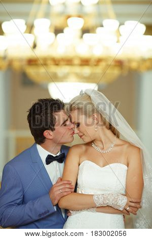 Tender And Lovely Kiss In The Wedding Day