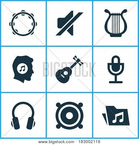 Audio Icons Set. Collection Of Mike, Silence, Lyre And Other Elements. Also Includes Symbols Such As Guitar, Music, Headphone.