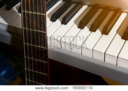 guitar and piano musicant background, concert jazz
