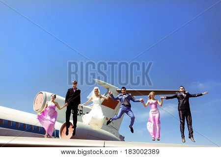 Newlyweds with friends and a plane behind