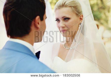Amazing Glance Of The Bride On The Wedding Ceremony