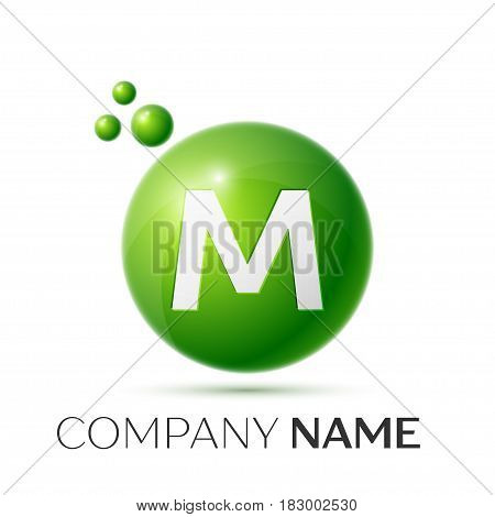 M Letter splash logo. Green dots and circle bubble letter design on grey background. Vector Illustration