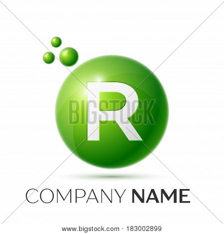 R Letter splash logo. Green dots and circle bubble letter design on grey background. Vector Illustration