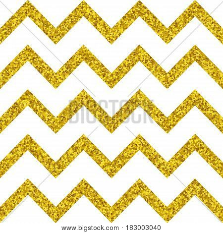 Abstract golden glitter geometric zigzag seamless pattern background vector
