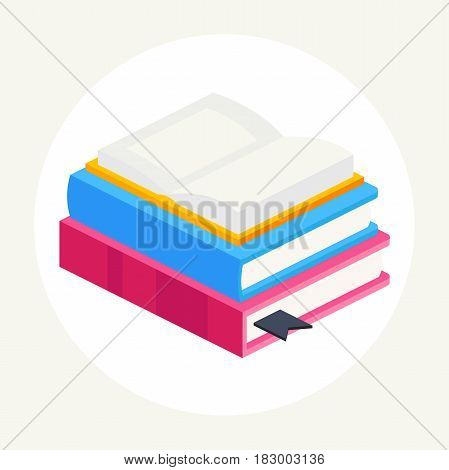 isometric vector illustration of stack of colorful books, an open book lying on a stack of two books. vector illustration of isolated layers on a white background