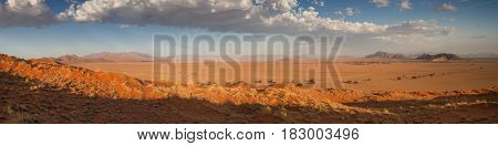 Panorama from the top of the Elim dune Sossusvlei Namibia Africa