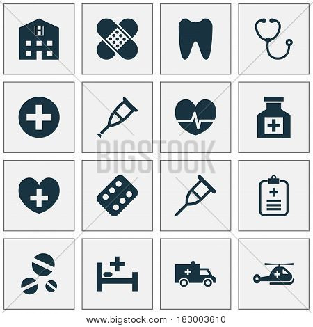 Antibiotic Icons Set. Collection Of Tent, Retreat, Plus And Other Elements. Also Includes Symbols Such As Rack, Illness, Painkiller.