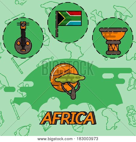 Africa flat concept icons. Vector illustration, EPS 10
