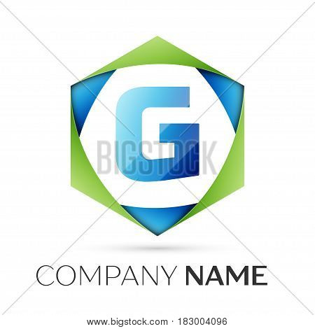 Letter G vector logo symbol in the colorful hexagonal on grey background. Vector template for your design