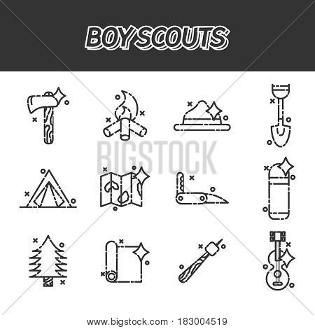Boy scouts concept icons. Adventure exploration Travel Concept