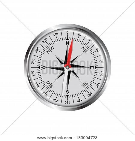 Metallic compass with wind rose. Isolated on white compass vector illustration.