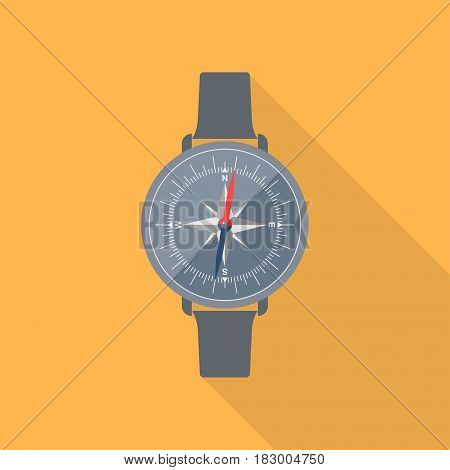 Compass icon in flat style with long shadow. Vector compass with wind rose.