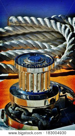 Close up of rope and gear on a Sail boat