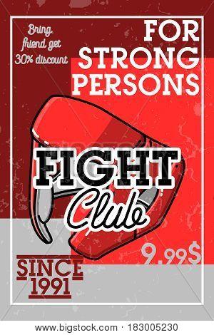 Color vintage fight club banner. Vector illustration, EPS 10