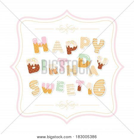 Happy birthday sweet 16 inscription in decorative frame. Cute letters made of chocolate cookies waffles polka dots. Girly. Vector EPS10.